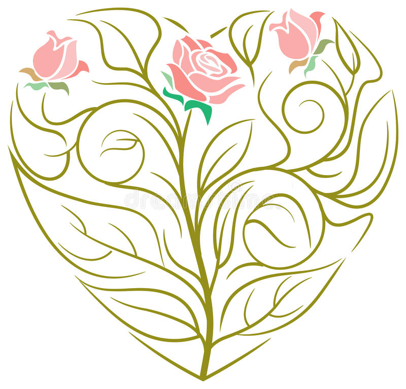 Heart design. Line art beautiful heart design vector illustration