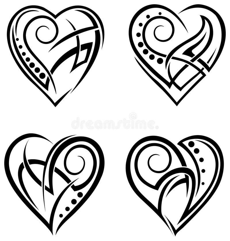 Heart Tattoo Line Drawing : Heart design tattoo set stock vector illustration of