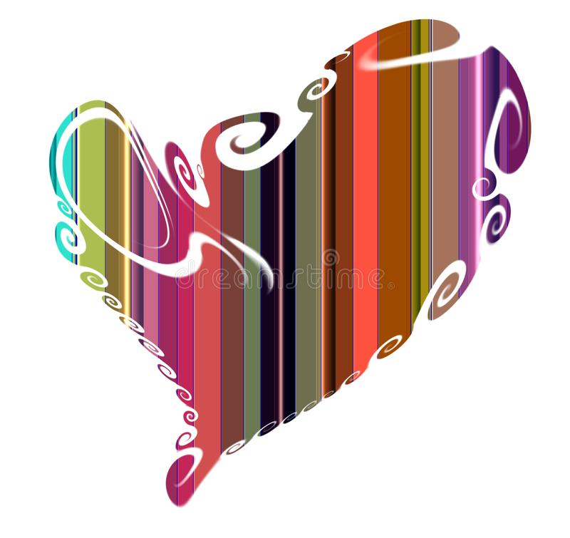 Heart. Design in vivid shapes and hues on white background vector illustration