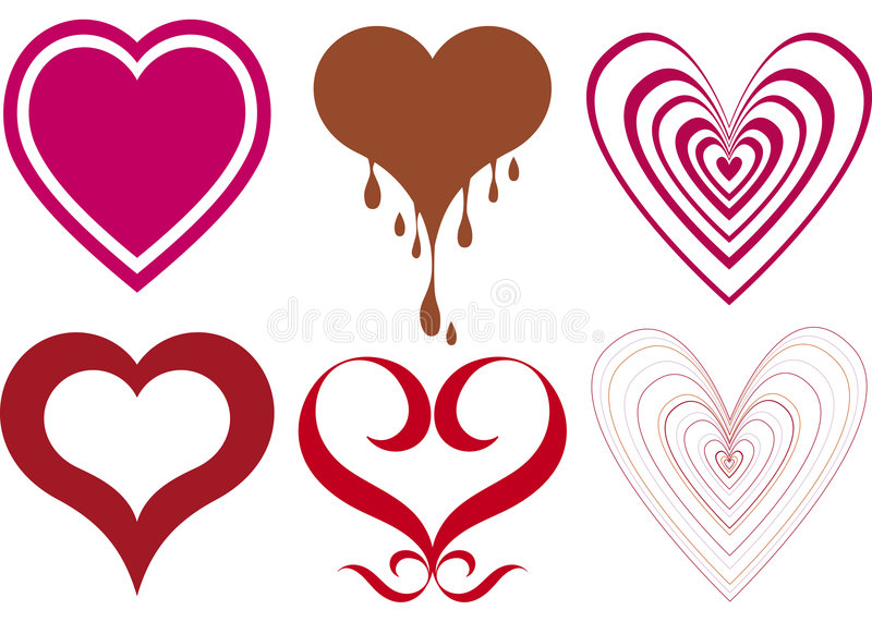 Heart designs. Collection of miscellaneous heart designs royalty free illustration