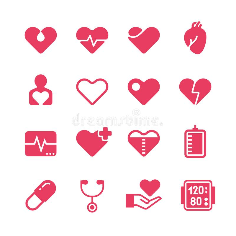 Heart diagnosis and cardiac treatment vector icons. Cardiology red silhouette pictograms royalty free illustration