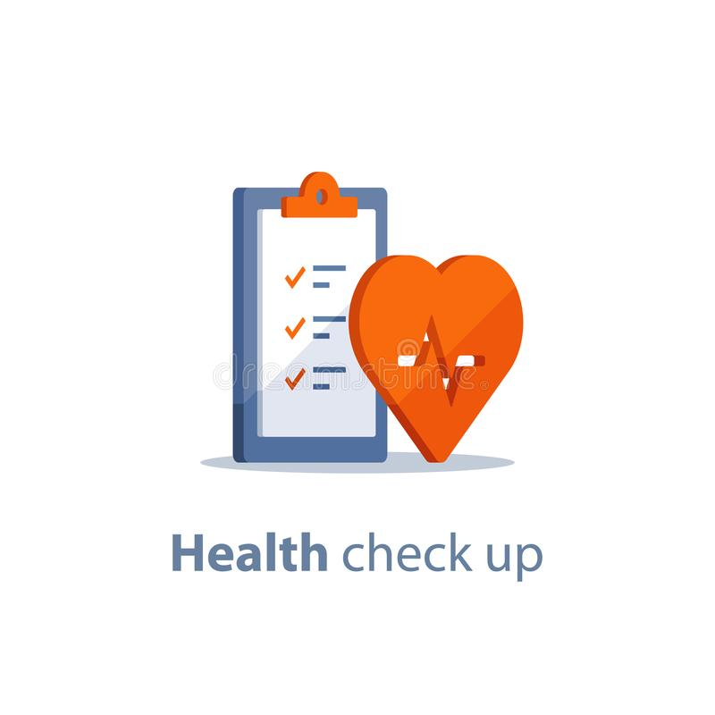 Heart diagnostic, health check up, electrocardiography service, medical checkup clipboard, hypertension risk. Health check up checklist, cardiovascular disease stock illustration