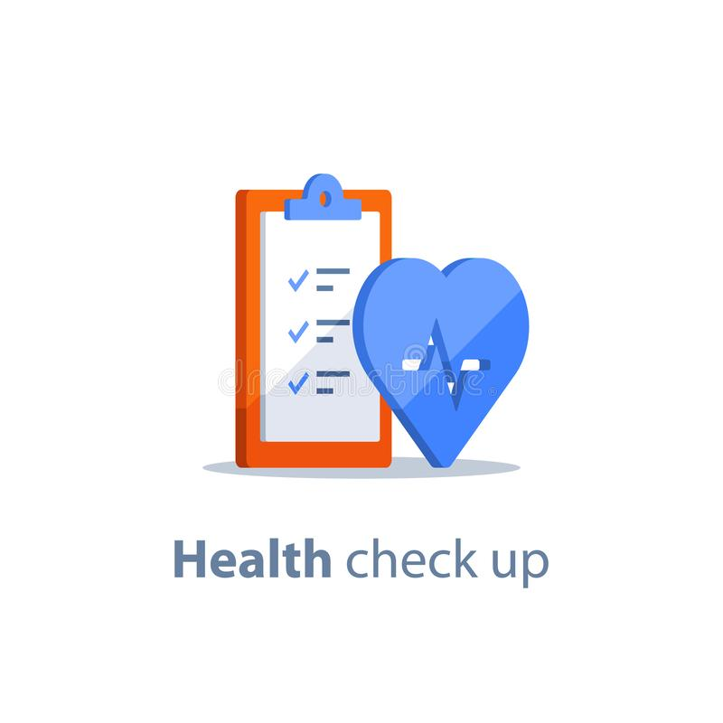 Heart diagnostic, health check up, electrocardiography service, medical checkup clipboard, hypertension risk. Health check up checklist, cardiovascular disease royalty free illustration