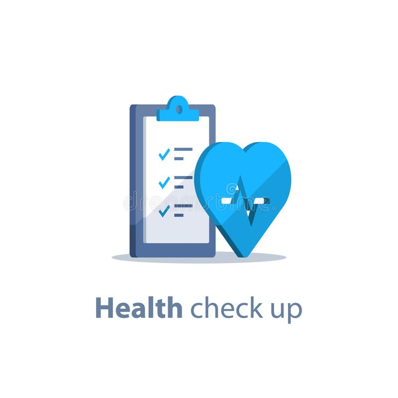 Heart diagnostic, health check up, electrocardiography service, medical checkup clipboard, hypertension risk. Health check up checklist, cardiovascular disease vector illustration