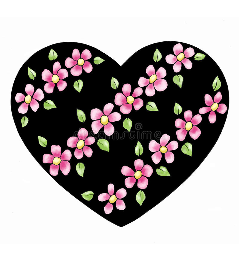 Download Heart With Diagonal Flowers Stock Illustration - Image: 15822582
