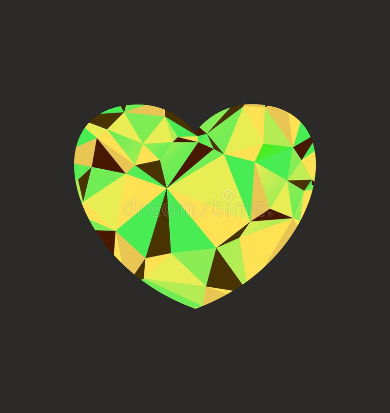 Heart diamond green royalty free illustration