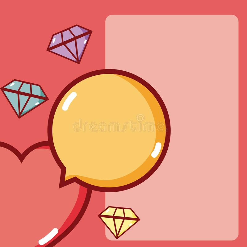 Heart and diamonds. Heart with diamonds and chat bubble vector illustration graphic design stock illustration