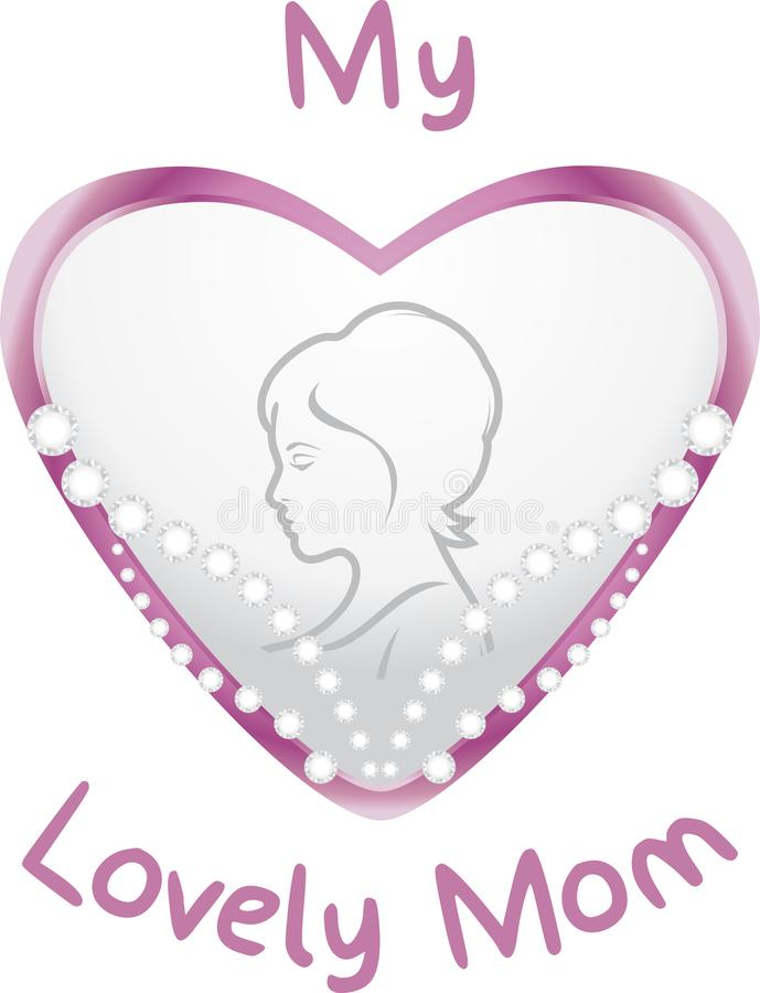 Heart with diamonds for my lovely mom. Symbol for mother day royalty free stock photography