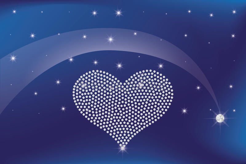 Heart of diamonds. In the night sky under shooting star forming a diamond royalty free illustration