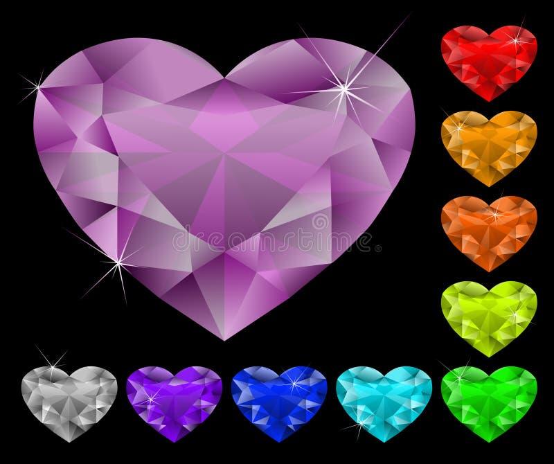 Heart diamonds set vector illustration