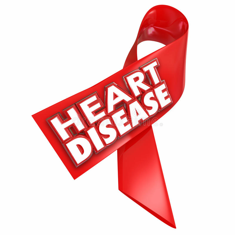 Heart Disease Awareness Ribbon Cure Coronary Condition Illness. Heart Disease awareness red ribbon with 3d words to illustrate and convey importance of battling royalty free illustration