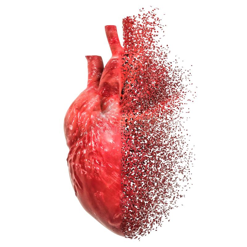 Heart disease concept. 3D rendering. Isolated on white background stock illustration