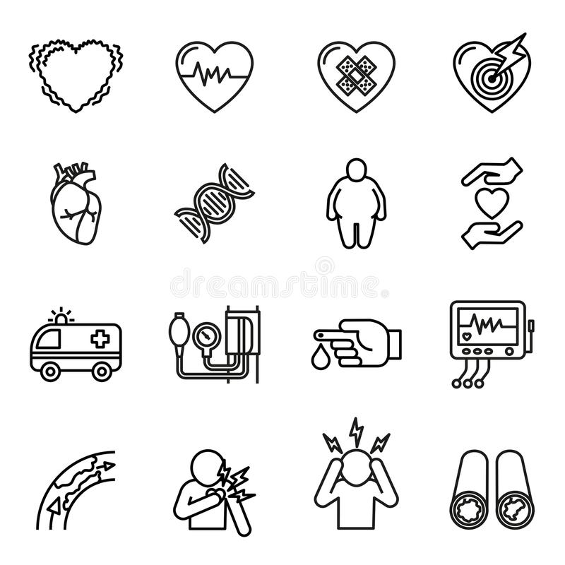 Heart disease, heart attack and symptoms icons set. vector illustration