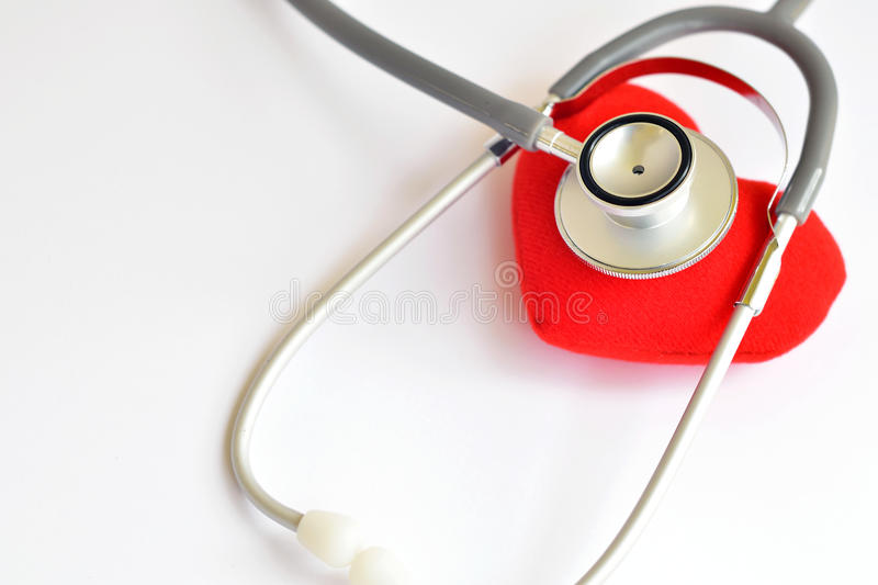 Heart disease. Heart with stethoscope, Heart healthy concept royalty free stock images
