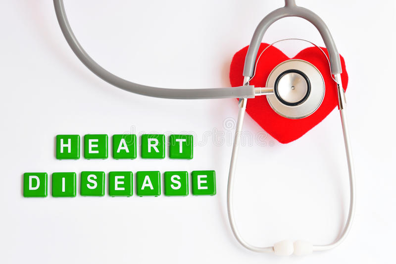 Heart disease. Heart with stethoscope, Heart healthy concept royalty free stock image