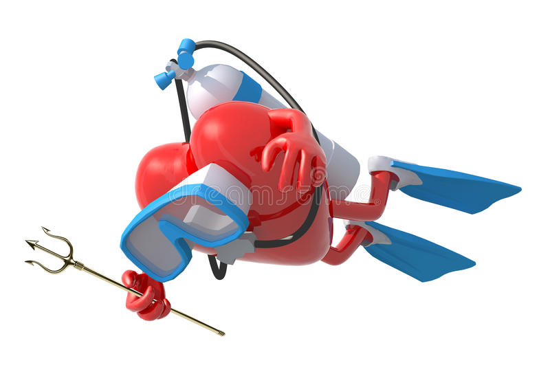 Heart with diving goggles and flippers. 3d illustration stock illustration