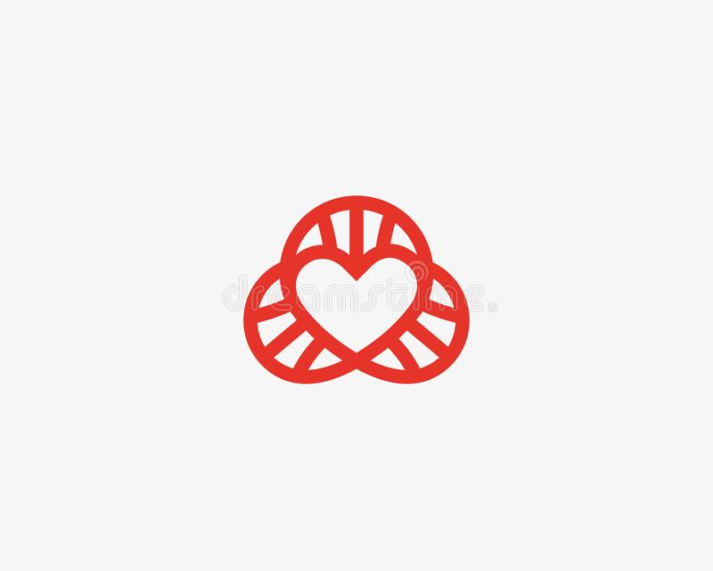 Heart dna vector logotype. Lined love science symbol. Lab social spiral logo design. vector illustration