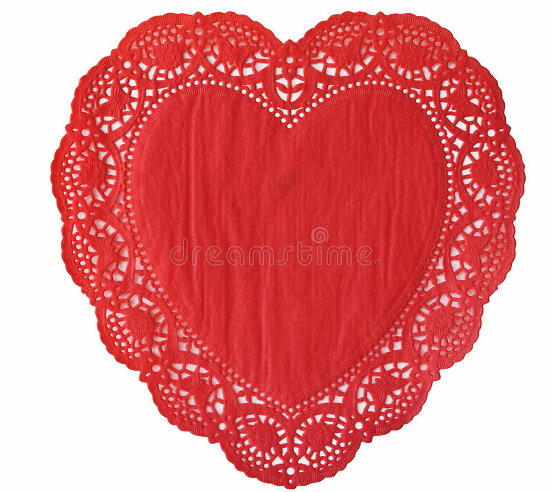 Heart Doily. Isolated on a white background stock photos