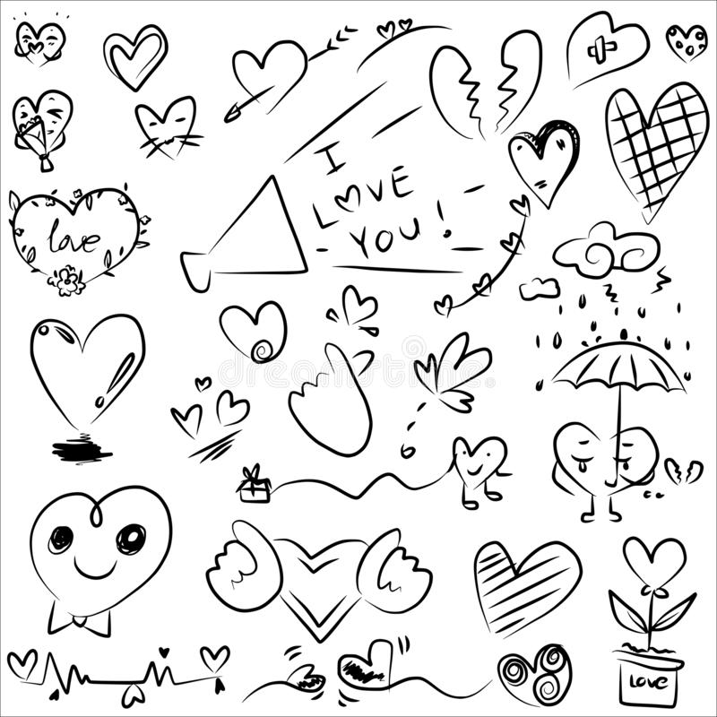 Heart doodle design vector from freehand drawing in black line set royalty free stock images