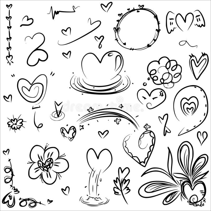 Heart doodle design vector from freehand drawing in black line set royalty free stock photos