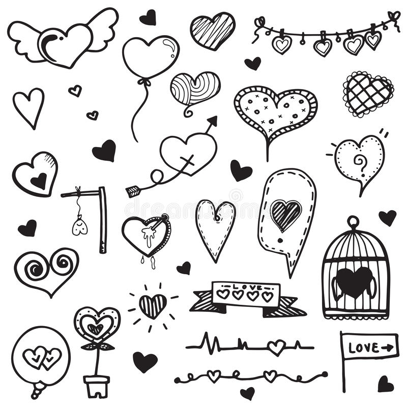 Free Heart Doodle Hand Drawn Vector Collection Royalty Free Stock Photos - 87432408