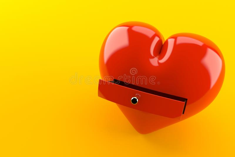 Heart with drawer. Isolated on orange background. 3d illustration stock illustration