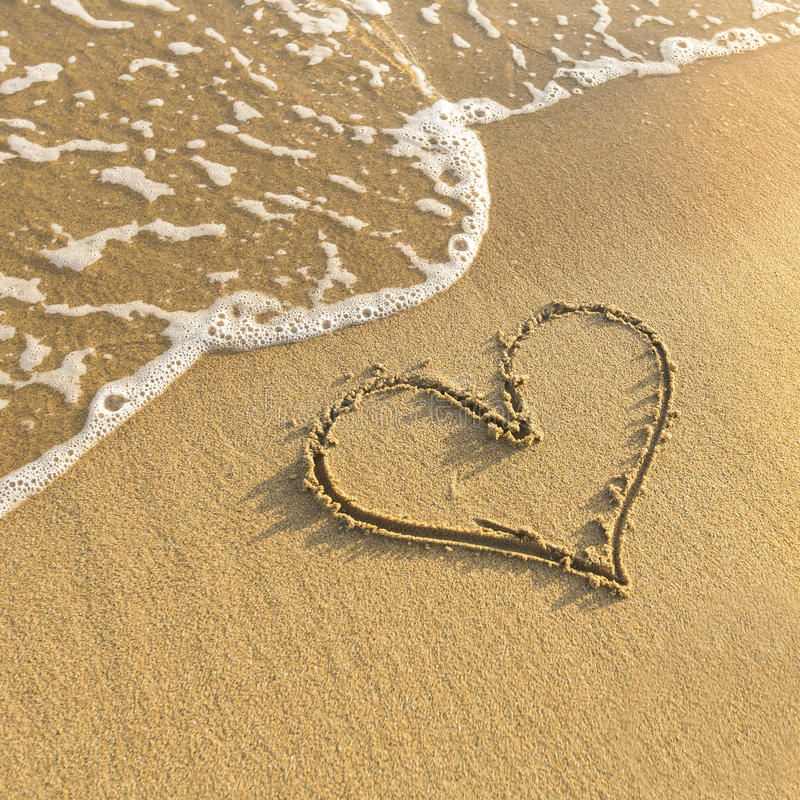 Free Heart Drawn In Beach Sand, Gentle Surf Wave. Love. Stock Photos - 50144343