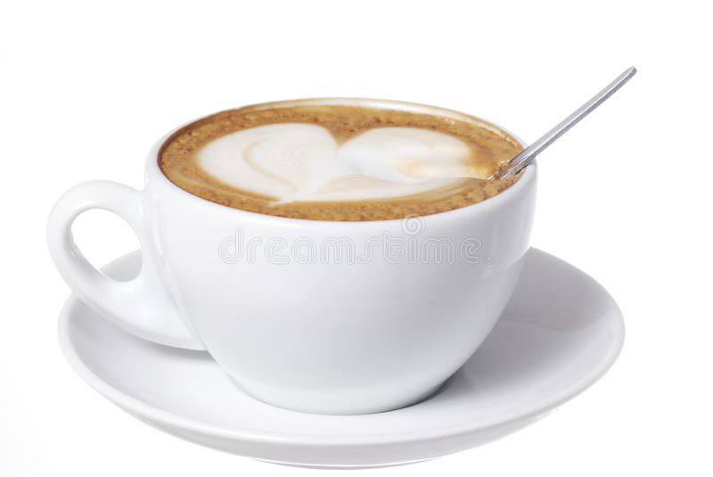 Heart Drawn into Latte With Spoon. stock photography