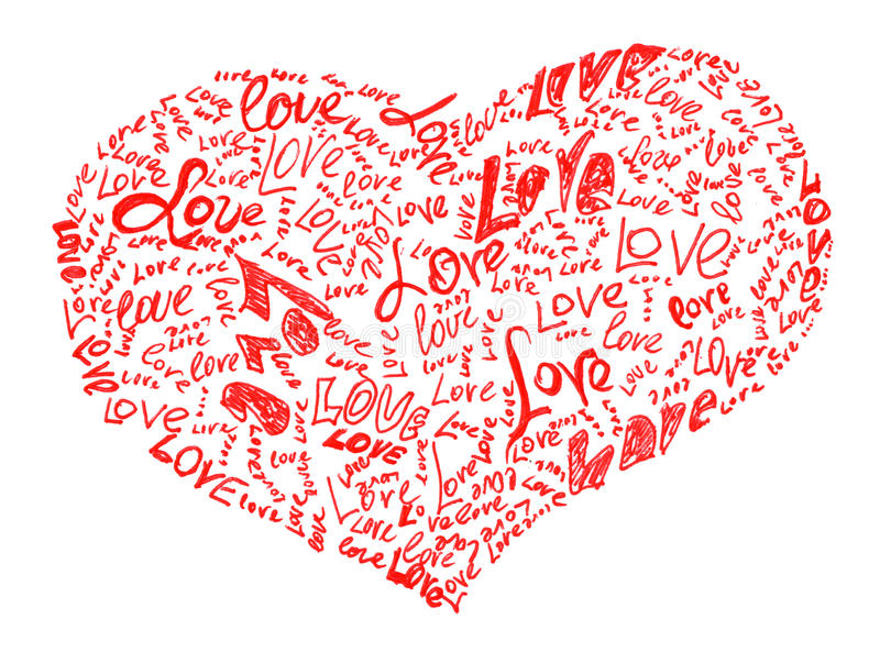 Download Heart Drawn By Pencil Filled With Love Words Stock Illustration - Image: 28948417