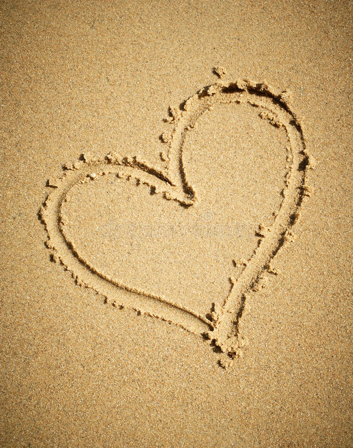 Download Heart Drawn On Sand. Royalty Free Stock Image - Image: 14949376