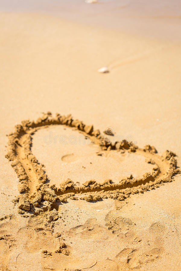 Heart Drawn in the Sand, Mauritius, Love Concept royalty free stock photos