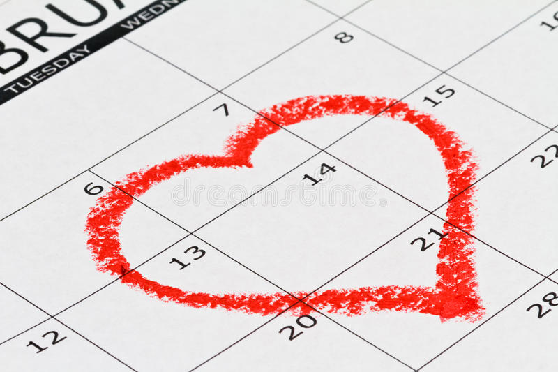 Download Heart drown on calendar stock image. Image of concept - 23175433