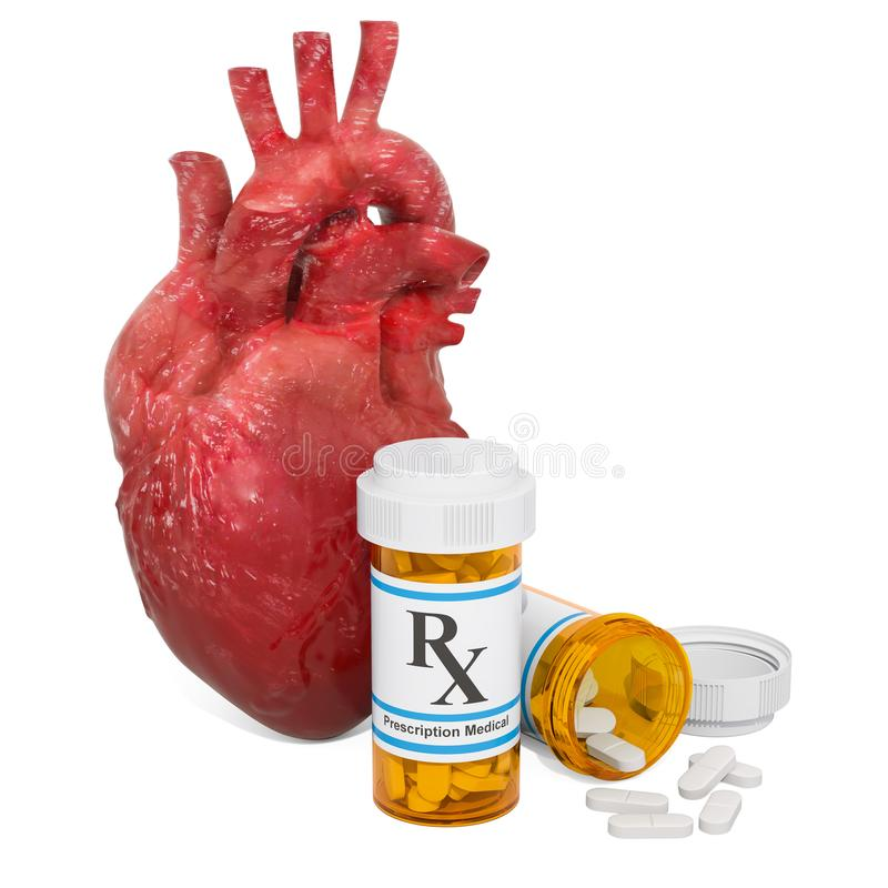 Heart drugs concept. Human heart with medical bottles and pills. 3D rendering isolated on white background stock illustration