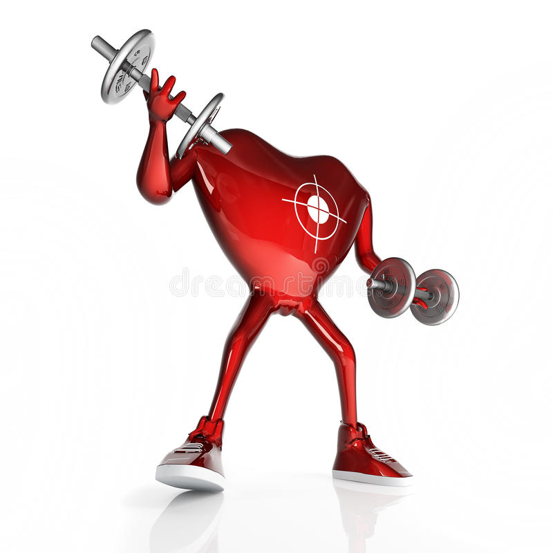 Heart & dumbbells. Heart in the form of character with the dumbbells. In sneakers. Isolated on white background stock illustration
