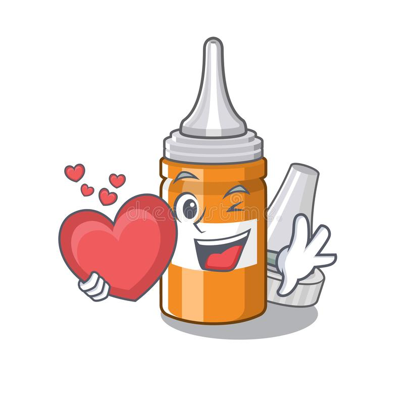 With heart ear drops in the mascot pillbox. Vector illustration royalty free illustration