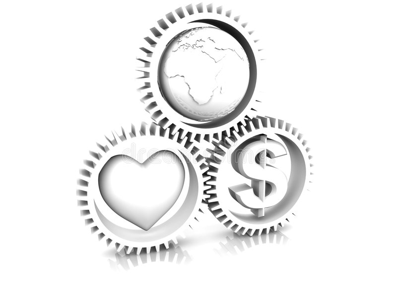 Download Heart, Earth, Money In Gear Stock Illustration - Image: 9118874