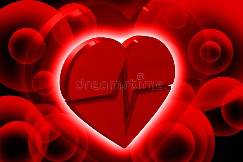 Heart ECG. Digital illustration of heart ECG in color background vector illustration