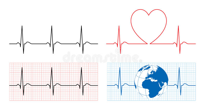 Heart with ecg and earth with ekg line vector illustration