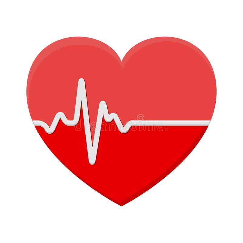 Heart and ECG - EKG signal, Heart Beat pulse line concept desig royalty free illustration