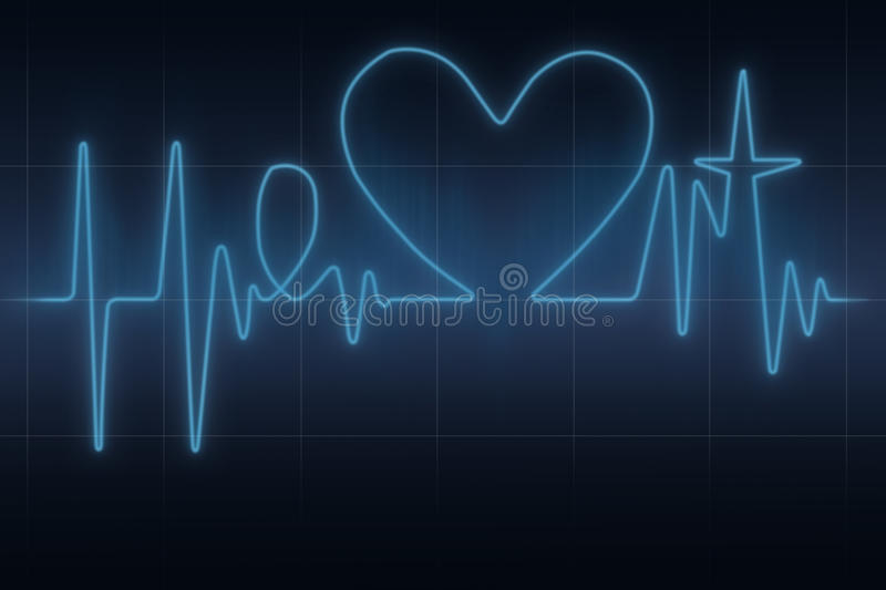 Heart ecg graph. Conceptual blue ecg graph in the shape of heart word with heart symbol vector illustration