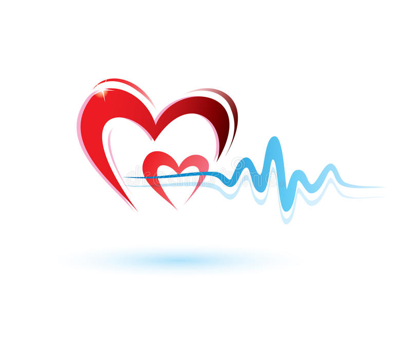 Heart with ecg icon stock vector. Illustration of color ...