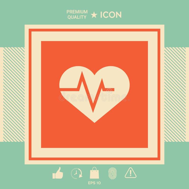 Heart With Ecg Wave Cardiogram Symbol Medical Icon Stock Vector