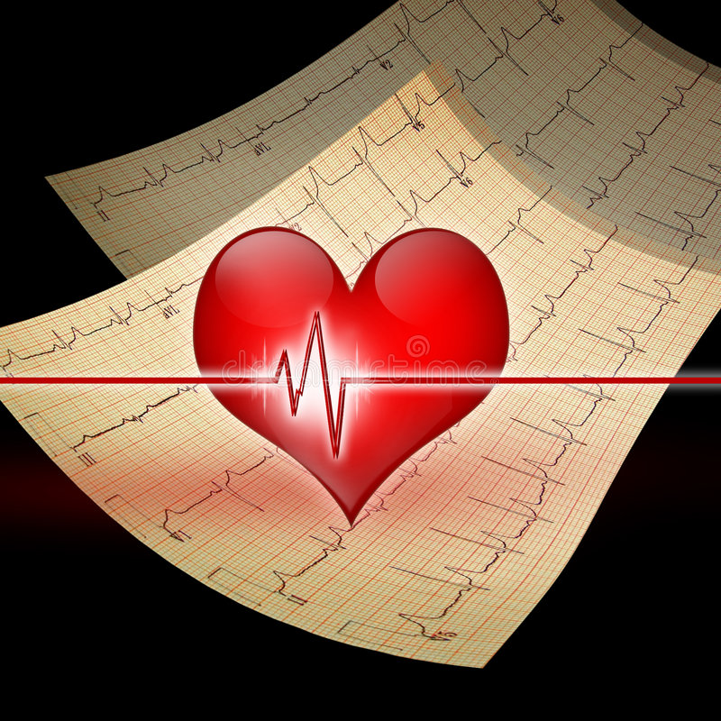 Heart with ekg. A red heart sits ontop of two EKG print outs. Black background