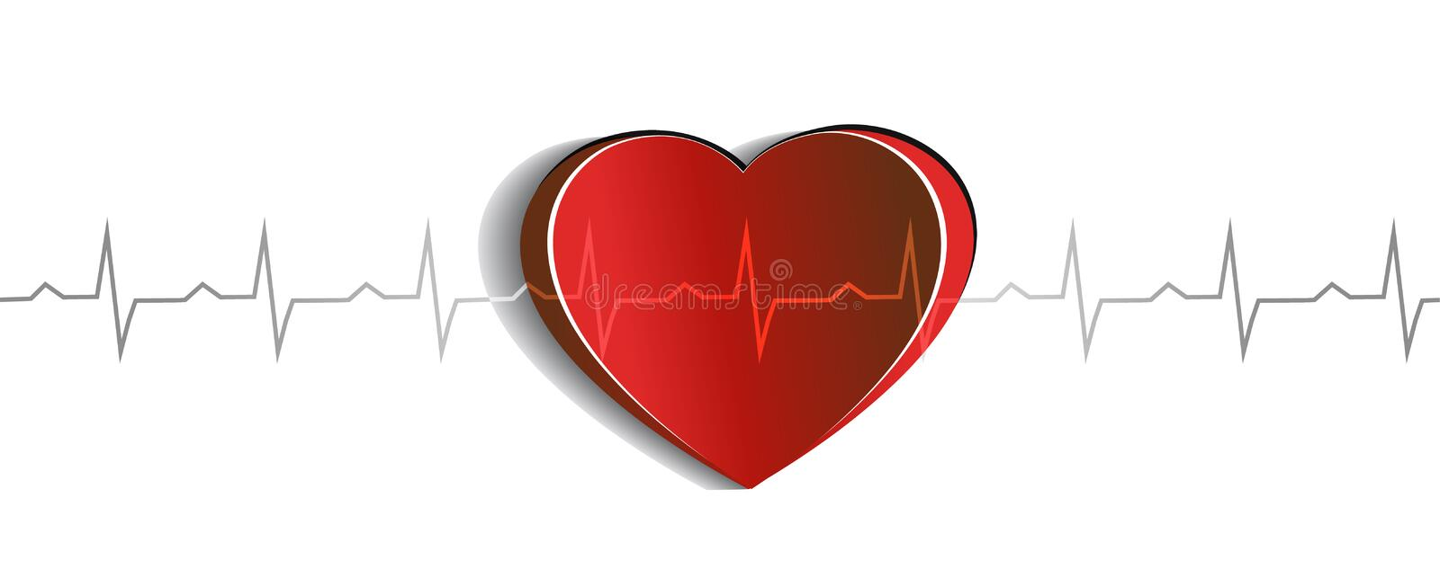 Heart and Electrocardiogram vector illustration