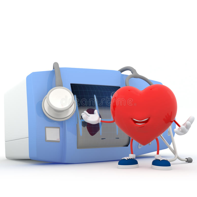 Download Heart With Electrocardiogram Device Royalty Free Stock Image - Image: 28238136