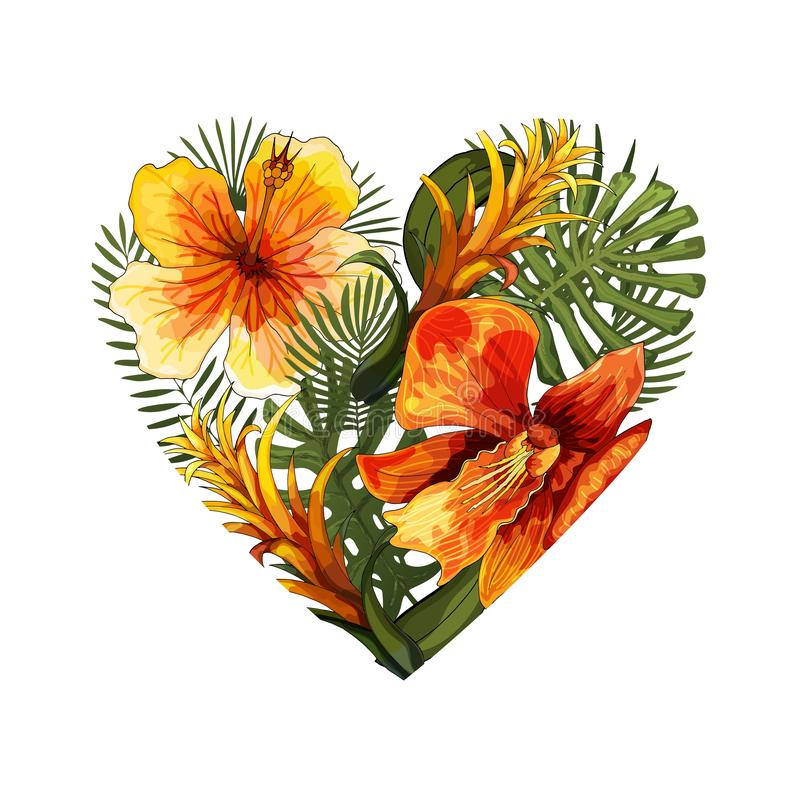 Heart element of bright green exotic tropical jungle flowers and palm leaves royalty free illustration