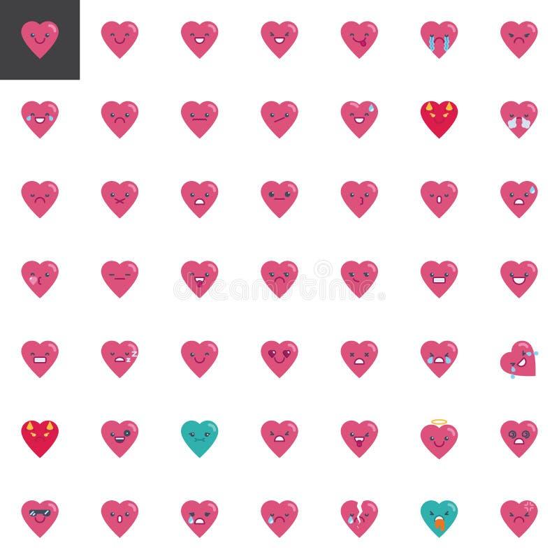 Heart emoji elements collection, flat icons set royalty free illustration