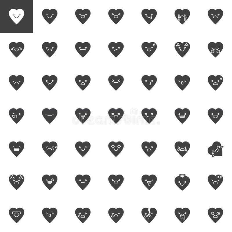 Heart emoji vector icons set vector illustration