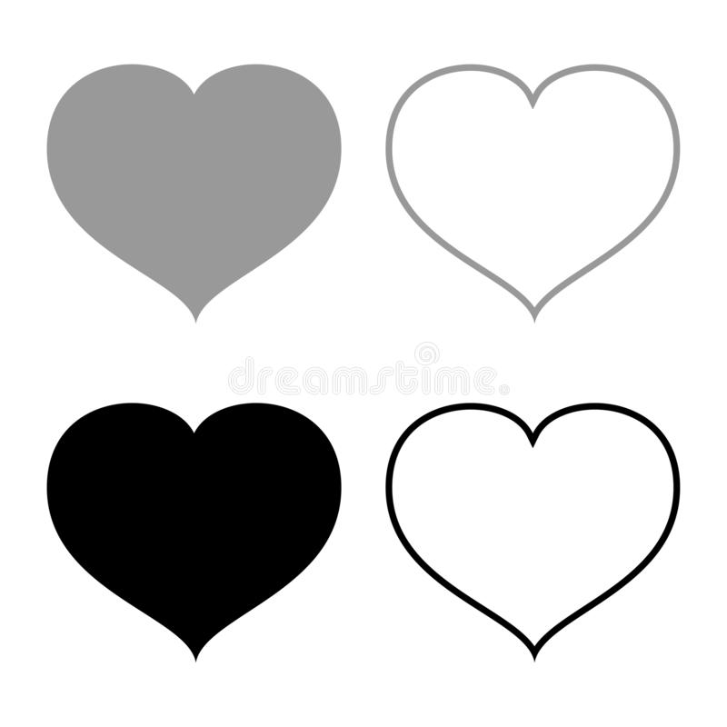 Heart with end icon set black grey color vector illustration