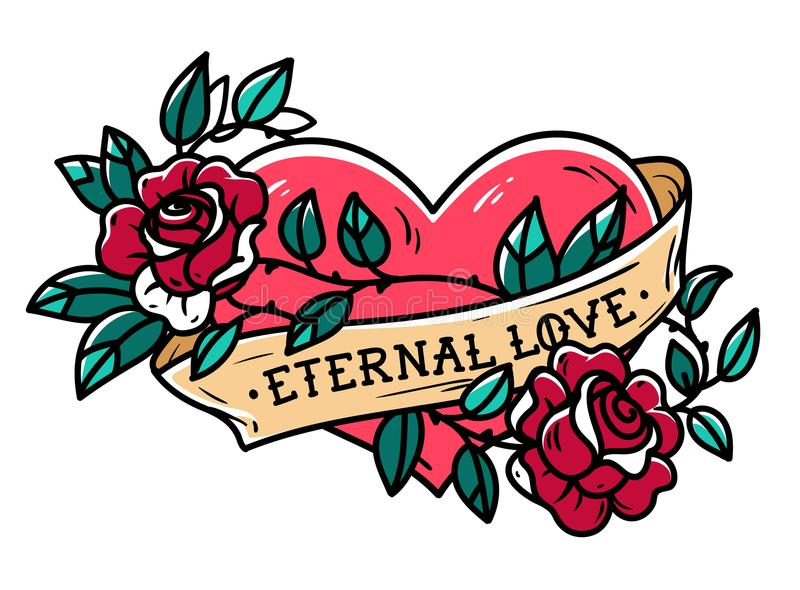 Heart entwined in climbing rose tattoo. Tattoo heart with ribbon and roses. Eternal love. Forever love vector illustration